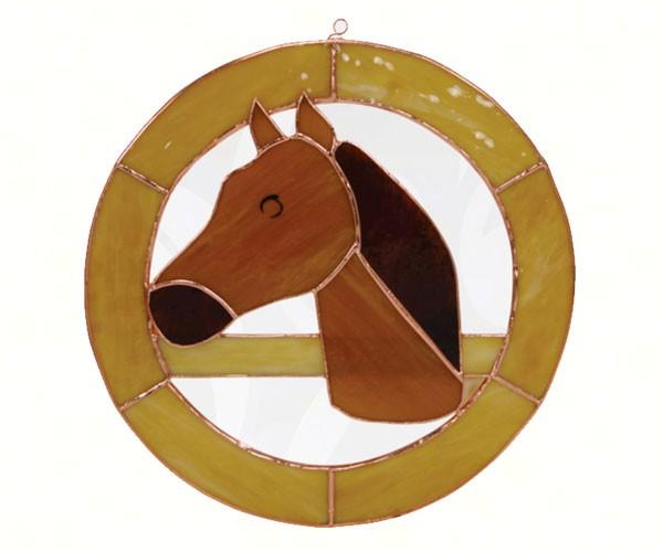 Large Horse Circle Window Panel GE197'