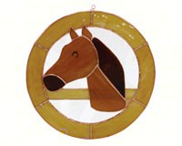 Stained Glass Large Horse Circle Window Panel-GE197