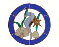 Stained Glass Large Seahorse Circle Window Panel-GE199