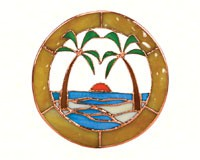 Small Palm Tree Window Panel-GE235