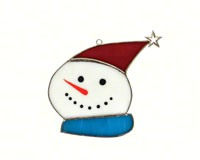 Stained Glass Snowman with Star Cap Suncatcher-GE242