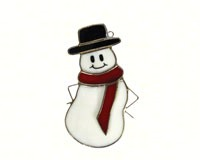 Stained Glass Snowman with Red Scarf Suncatcher-GE243