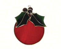 Stained Glass Red Ball Ornament Suncatcher-GE246