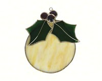 Stained Glass White Ball Ornament Suncatcher-GE247