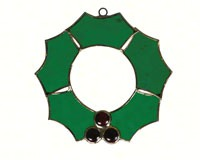 Stained Glass Christmas Wreath Suncatcher-GE253