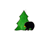 Stained Glass Black Bear with Tree Suncatcher GE278