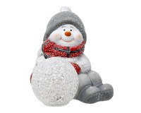 Sitting Snowman with LED Snowball-GE3010