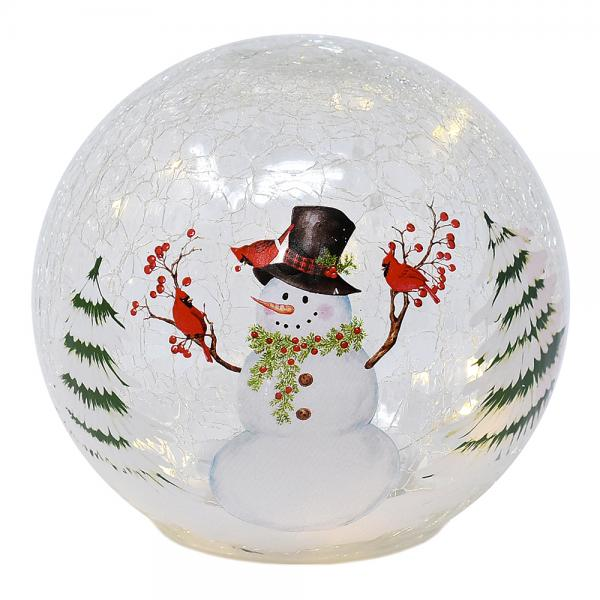 6 Inch Snowman with Cardinals LED Globe