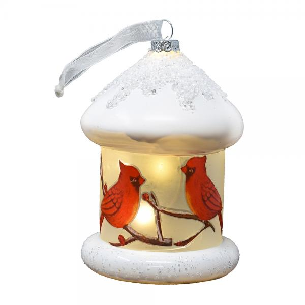 Round Cardinals Birdhouse Ornament