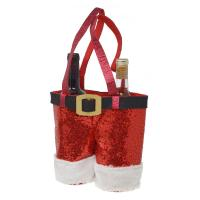 Red Glitter Wine Santa Pants for 750ml Bottles-GE3041