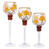 3pc Crackle Glass Stemmed Globe Candle Holders with Fall Leaves-GE4001