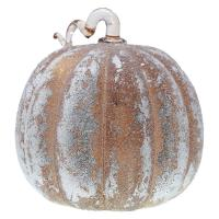 Large Frosted Taupe LED Pumpkin-GE4004