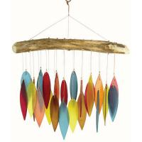 Santa Fe Colors Leaves & Driftwood Glass Chime-GEBLUEG207