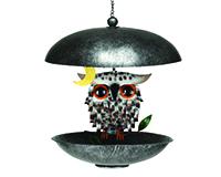 Snowy Spikey Owl Bistro Feeder GEBLUEG568F