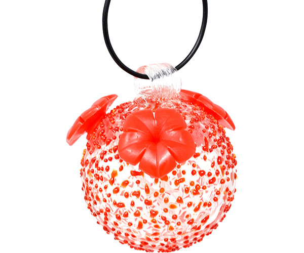 Red Textured Glass Hummingbird Feeder