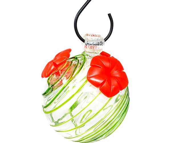 Green Swirl Glass Hummingbird Feeder