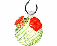 Green Swirl Glass Hummingbird Feeder-GEHF007