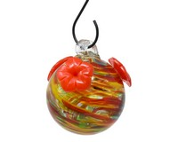 Rainbow Swirl Glass Hummingbird Feeder-GEHF010
