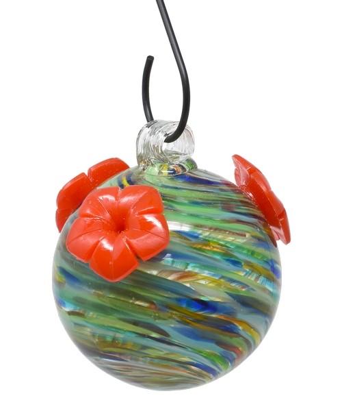 Ocean Swirls Glass Hummingbird Feeder