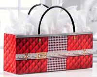 Red Quilted Print Handbag Design Wine Bottle Gift Bag-GIFT467717
