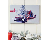 LED Lighted Canvas Wall Print, Antique Truck & Tree-GIFT652613