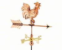 Rooster Polished Copper Garden Weathervane-GOOD802PGD