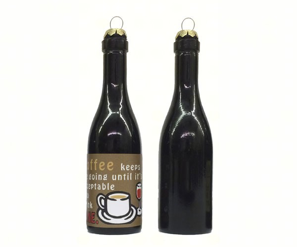 Coffee Keeps me going until it's acceptable to drink wine! Clever Saying Ornament GRAPECSO10'