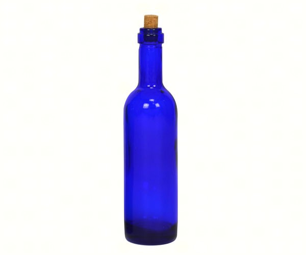 Blue Wine Bottle Ornament with Silver Hook