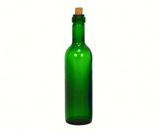 Green Wine Bottle Ornament with Gold Hook