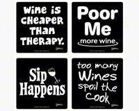 Set of 4 Wine Coasters-3.5 inches Square Coasters Boxed-GRIMMWINE3COAST