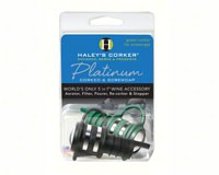 Haleys Corker 5 in 1 Wine Tool Platinum Combo 1 Black Corker plus 1 Green Screwcap Clamshell-HALEYP2