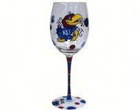 Wine Glass (12 oz) - Kansas Jayhawks-JENKINS12954