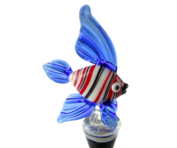 Glass Wbs Fish Stripes White/Red/Blue