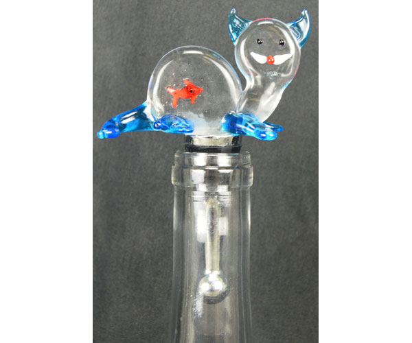 Glass Wbs Cat With Fish In Belly 14312