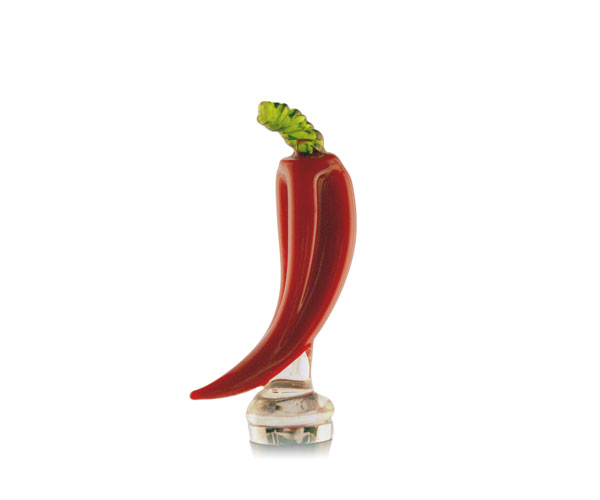 Glass Wine Stopper Red Chili Pepper