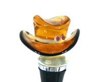Glass Wine Stopper Brown Cowboy Hat-14508