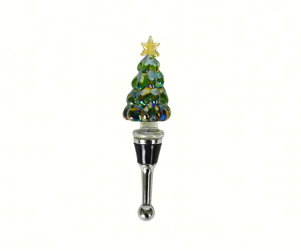 Christmas Tree Glass Wine Bottle Stopper Gift Box 14700'