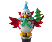 Glass Wbs Xmas Owl With Tree 14706