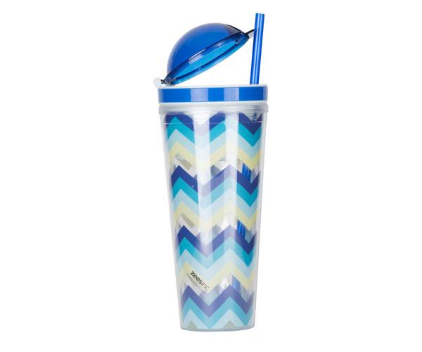 Slurp N' Snack Tumbler For Snack And Drink - Multi-Blue