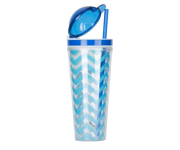 Slurp N' Snack Tumbler For Snack And Drink - Chevron Light Blue