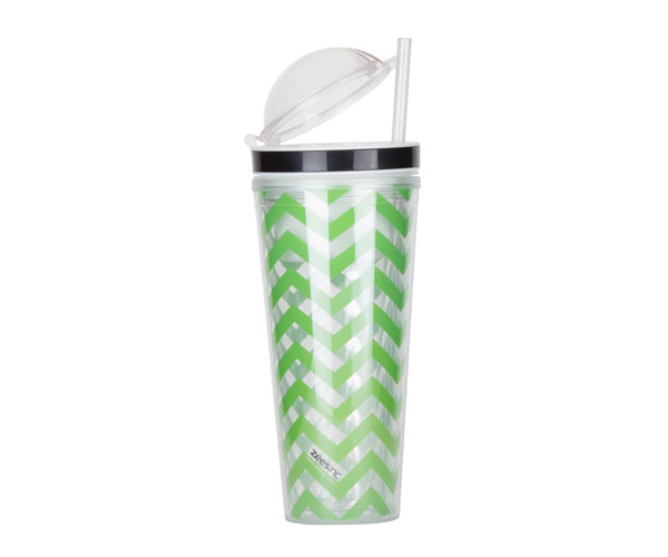 Slurp N' Snack Tumbler For Snack And Drink - Chevron Lime Green