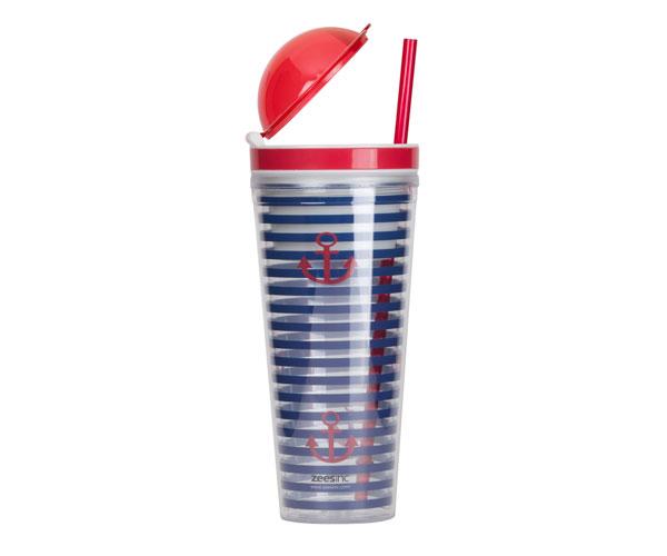 Slurp N' Snack Tumbler For Snack & Drink Stripes & Anchors