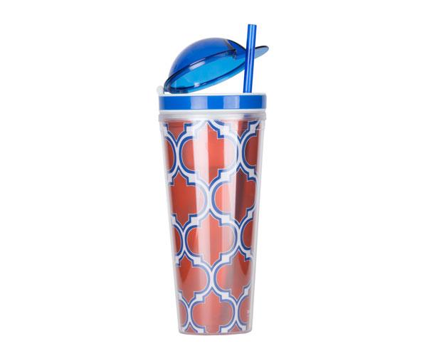 Slurp N' Snack Tumbler For Snack And Drink - Moroccan Orange/Blue