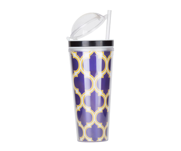 Slurp N' Snack Tumbler For Snack And Drink - Moroccan Purple/Yellow