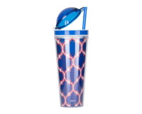 Slurp N' Snack Tumbler For Snack And Drink - Moroccan Blue/Red-AC3016SS