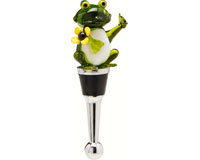 Bottle Stopper - Frog Yellow Flower BS-510