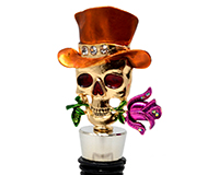 Sugar Skull Bling Bottle Stopper-BS-529