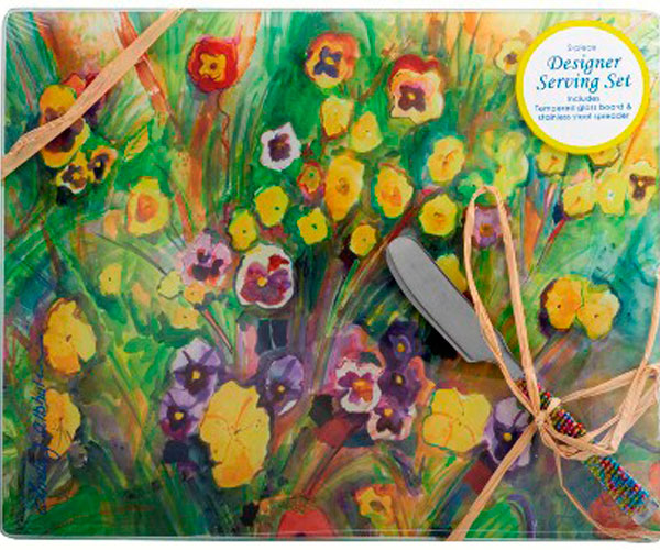 Cheese Board - Pansies. Rect. 10x8 Inch HS-033'