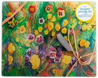 Cheese Board - Pansies. Rect. 10x8 Inch HS-033