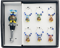 Owl Stopper and Wine Charm Set HS-058